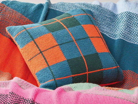 Check It Cushion Knitting Pattern in Rowan Yarn