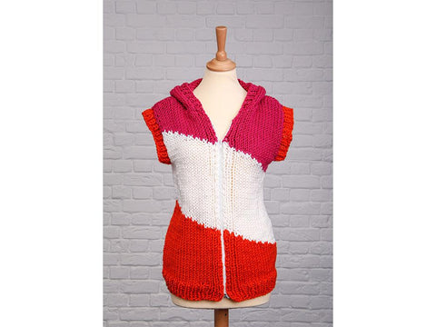 Diagonal Stripe Hoody by Ruth Dorrington in Deramores Studio Chunky