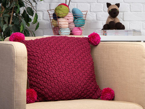Double Moss Patch Cushion by Katie Barber in Deramores Studio Chunky