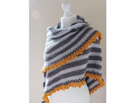 Mustard February Shawl Crochet Kit and Pattern