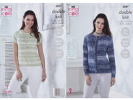 Cardigan & Short Sleeved Sweater in King Cole Vogue DK (5097K)