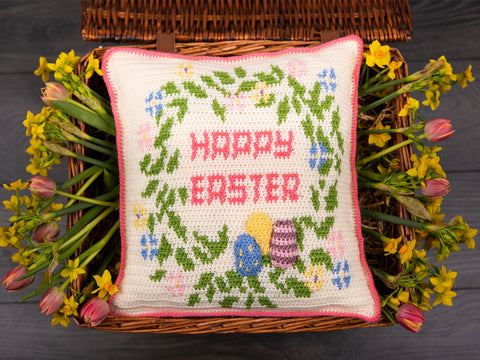Happy Easter Cushion Crochet in Deramores Yarn