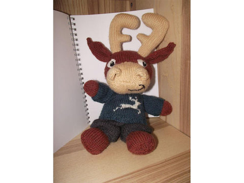 Benny the Jolly Reindeer by Cilla Webb in Deramores Studio DK Knitting Kit and Pattern