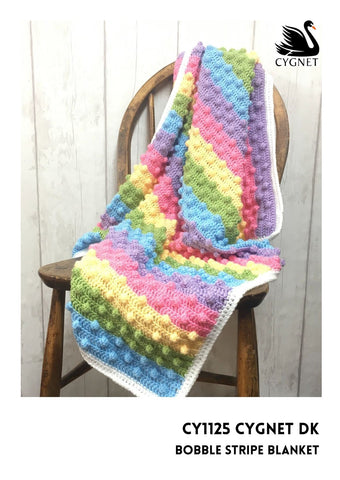 Bobble Stripe Blanket Crochet Kit and Pattern in Cygnet Yarn