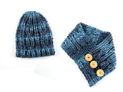 Cable Hat & Cowl Set by Zoë Potrac Crochet Kit and Pattern in James C. Brett Yarn