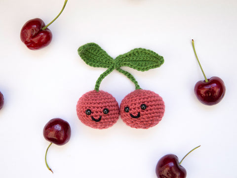 Cheerful Cherries Crochet Kit and Pattern in Deramores Yarn