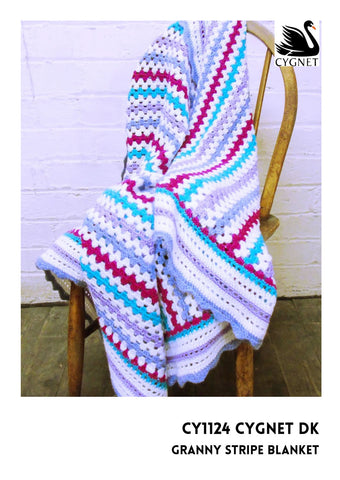 Granny Stripe Blanket Crochet Kit and Pattern in Cygnet Yarn