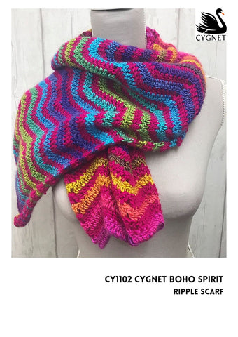 Ripple Scarf in Cygnet Yarns Boho Spirit - Yarn and Pattern