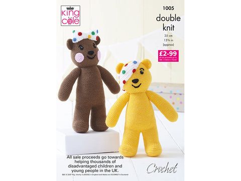 Pudsey & Blush Bears Crochet Kit and Pattern in King Cole Yarn (1005K)