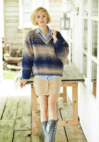 Cable Crew and V Neck Jumpers in Stylecraft Ombre (9218)