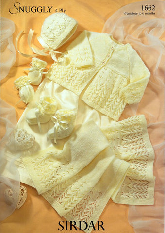 Matinee Coat, Bonnet, Mittens, Bootees & Blanket in Sirdar Snuggly 4 Ply (1662)