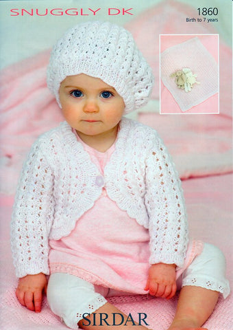 Baby Girls Cardigan, Beret and Blanket in Sirdar Snuggly DK (1860)