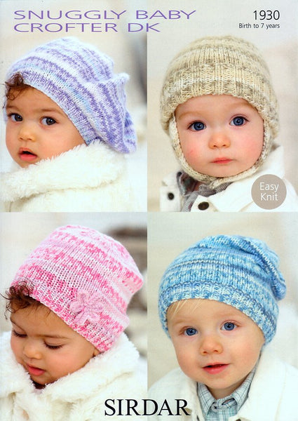 Baby's and Child's Hats in Sirdar Snuggly Baby Crofter DK (1930)