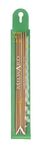Milward Double Point Knitting Needles (Bamboo) - 15cm (set of 5)