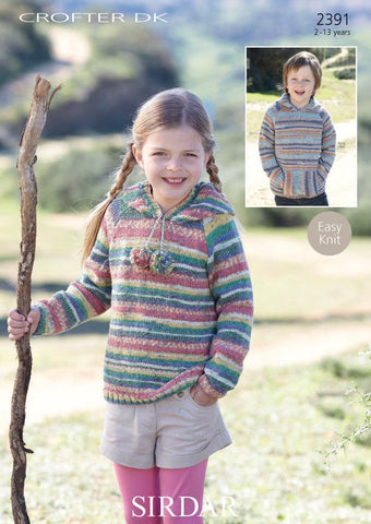 Child's Hooded Raglan Sweater In Sirdar Crofter DK (2391)