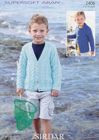Boys Cardigan In Sirdar Supersoft Aran (2406)