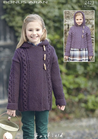 Girls Duffle Coats in Hayfield Bonus Aran (2423)