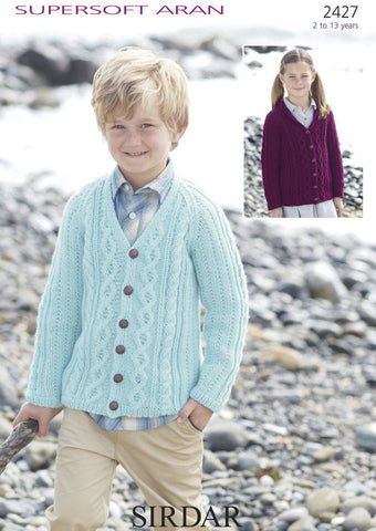 Boys & Girls V Neck and Shawl Collared Cardigans in Sirdar Supersoft Aran (2427)