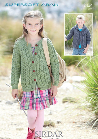 Girls Round Neck and Boys Hooded Cardigans in Sirdar Supersoft Aran (2434)