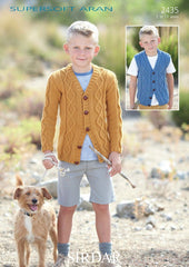 Boys V Neck Cardigan and Waistcoat in Sirdar Supersoft Aran (2435)