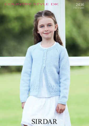 Girls Round Neck Cardigan in Sirdar Country Style DK (2436)