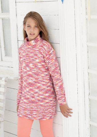Girls Long Line Sweaters in Sirdar Snuggly Jolly (2463)