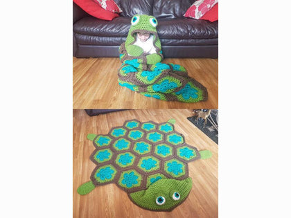 2 in 1 Turtle Tortoise Hooded Blanket Crochet Kit and Pattern
