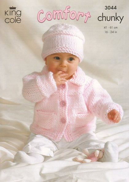 Jacket, Sweater, Crossover Cardigan and Hat in King Cole Comfort Chunky (3044)