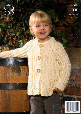 Sweater, Hooded Jacket and Coat Knitted in King Cole Fashion Aran (3098)