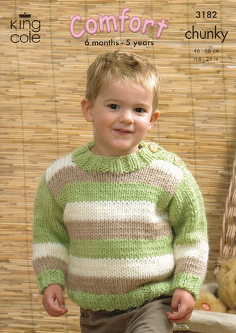 Sweaters and Cardigan in King Cole Comfort Chunky (3182)