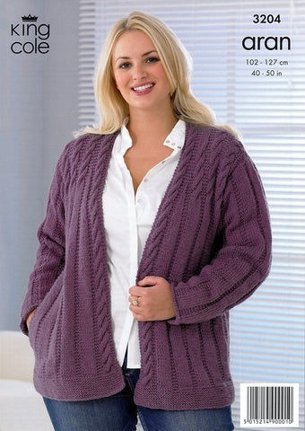 Jacket and Waistcoat in King Cole Merino Blend Aran (3204)