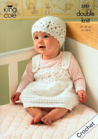 Cardigan, Waistcoat, Pinafore Dress & Hat in King Cole Comfort DK (3251)