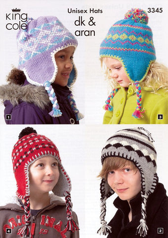 Children's Unisex Hats in King Cole DK and Aran (3345)