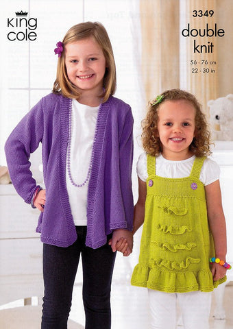 Girl's Cardigan & Top in King Cole Bamboo Cotton DK (3349)