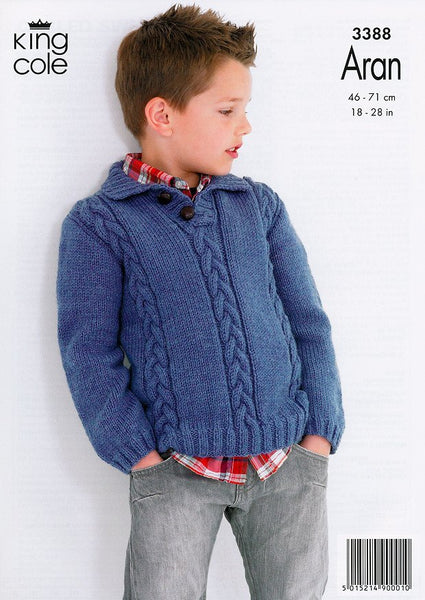 Cabled Sweaters in King Cole Comfort Aran (3388)