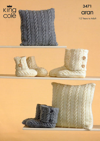 Knitted Slippers and Cushions in King Cole Aran (3471)