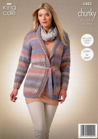Ladies Cardigan and Waistcoat in King Cole Riot Chunky (3483)