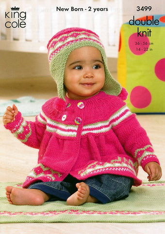 Jacket, Angel Top, Hat and Blanket in King Cole DK (3499)