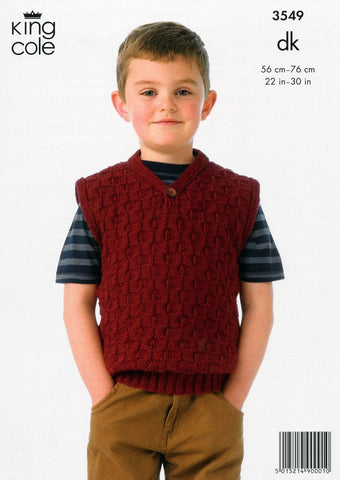 Boy's Sweater and Slipover in King Cole DK (3549)