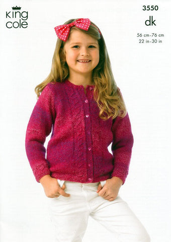 Girl's Cardigan and Jacket in King Cole DK (3550)