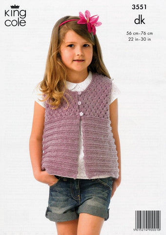 Girl's Jacket and Waistcoat in King Cole DK (3551)