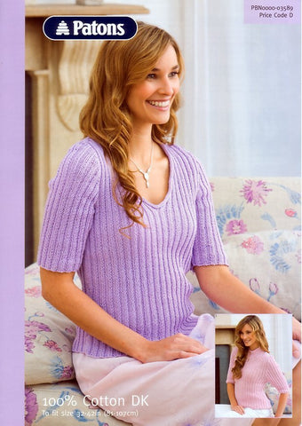 Ribbed Tops in Patons 100% Cotton DK (3589)