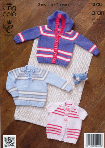 Jacket, Sweater and Cardigan in King Cole Comfort Aran (3725)