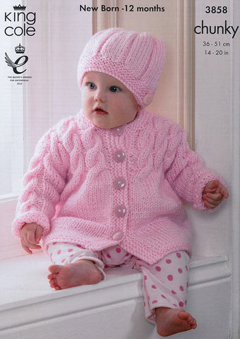Coat, Sleeveless Coat, Sweater and Hat in King Cole Chunky (3858)
