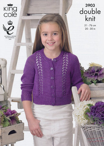 Cardigan and Waistcoat in King Cole Giza Cotton DK (3903)