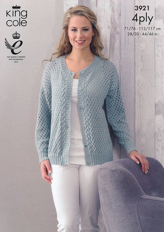 Cardigan and Sweater in King Cole Bamboo 4 Ply (3921)