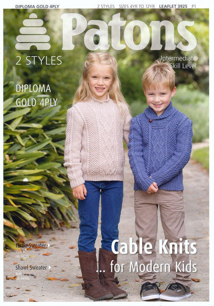 Cable Knits for Modern Kids in Patons Diploma Gold 4 Ply (3925)