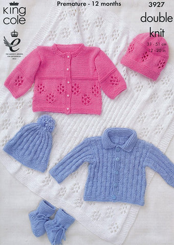 Jackets, Hats, Bootees and Shawl in King Cole DK (3927)