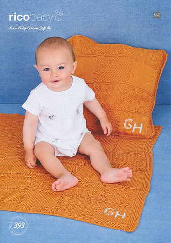Blanket and Cushion in Rico Design Baby Cotton Soft DK (393)
