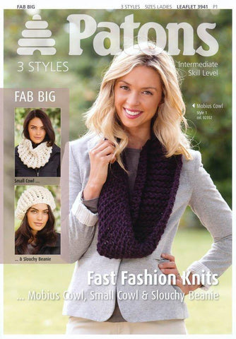 Mobius, Small Cowl & Slouchy Beanie in Patons Fab Big (3941)
